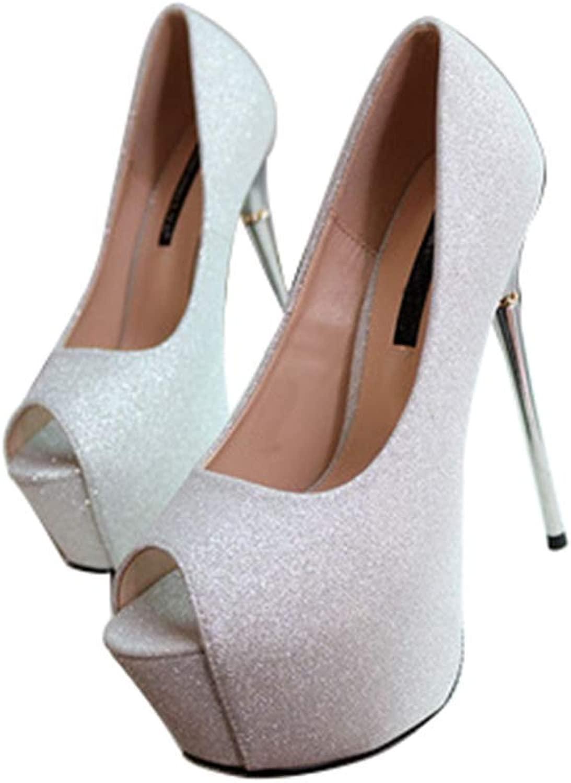 HLGGX Fisch - Mund - Schuhe aus Stahl, MIT MIT High Heels flachen Schuhe für die Hochzeit hochzeits - plattform Silberne Pailletten von 16 cm  das billigste