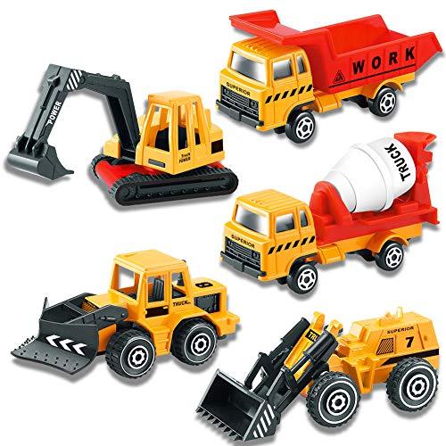 Mini-Graafmachines Speelgoedvrachtwagen Bouwvoertuigen 5-Delig Legering Modelauto Set Gegoten Schaal 1:72 Verjaardagsfeestje Taartdecoratie voor Kinderen Jongens Meisjes 3 4 5 Jaar