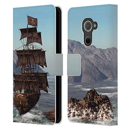 Head Hülle Designs Offizielle Simone Gatterwe Piratenschiff Schiffe Leder Brieftaschen Handyhülle Hülle Huelle kompatibel mit BlackBerry DTEK60