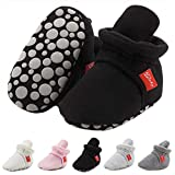 CARREAN Baby Boys Girls Booties Non Skid Soft Sock Cotton Boots Infant Slippers Newborn First Walker Crib Shoes Black 13CM