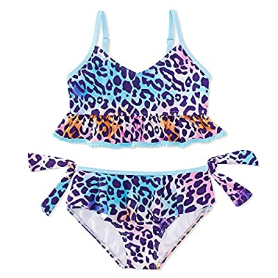 swimsobo Children Swimsuits for Girls Quick Dry Swimwear Two Piece Cute Flounce Bathing Suit Leopard Printed Bikini Sets for Summer Seaside Holiday 7T 8T Purple