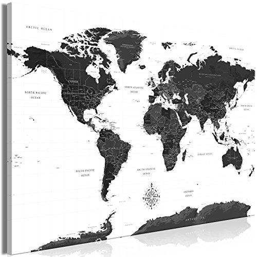 murando - Bilder Weltkarte 120x80 cm Vlies Leinwandbild 1 TLG Kunstdruck modern Wandbilder XXL Wanddekoration Design Wand Bild - schwarz weiß k-A-0423-b-a