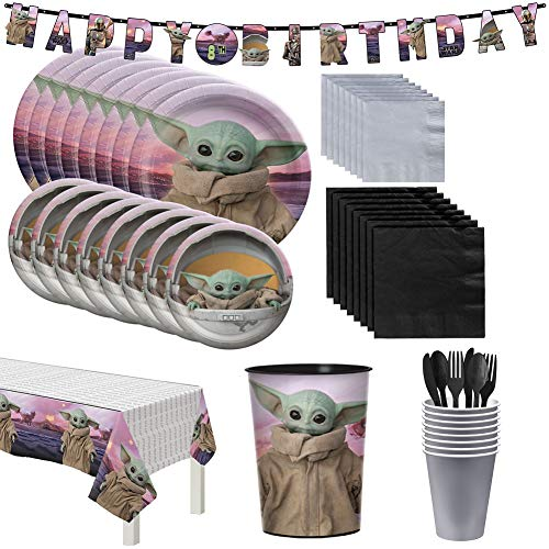 Party City The Mandalorian Birthday Tableware for 16 Guests, Star Wars Plates, Napkins, Cups, Utensils, and Decorations