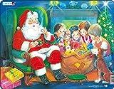 Larsen JUL14 Papá Noel disfrutando de una Galleta, Puzzle de Marco con 15 Piezas