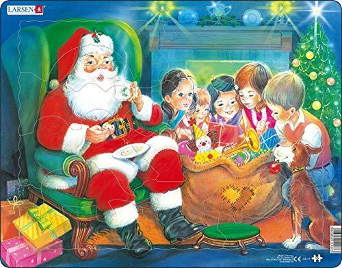 Larsen JUL14 Babbo Natale godendo di Un Biscotto, Puzzle Incorniciato con 15 Pezzi
