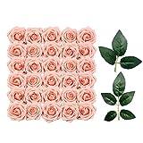 Sprießen Fleurs Artificielles, 50 PCS Roses Artificielle Mousse Rose Fleurs et 10 Feuilles artificielles pour DIY Mariage Bouquets Baby Shower Mariée Fête Accueil Décorations (Rose)