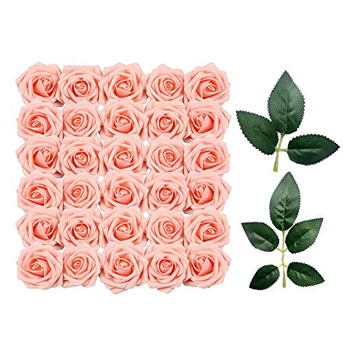 Sprießen 50 Stücke künstliche Blumenkopf RosenköpfeKünstliche Blume Gefälschte Rosen für Hochzeit zum Basteln oder zur Dekoration+10 dekorative grüne Blätter(rosa)