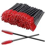 100Pcs Disposable Eyelash Mascara Brushes for Eye Lashes Extension Eyebrow and Makeup (Red)