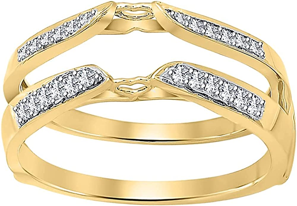 SVC-JEWELS Round Cut Cubic Zirconia 10K Yellow Gold Plated Solitaire Enhancer Ring For Women's