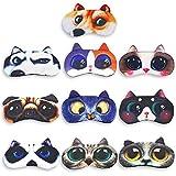 Animal Sleep Mask Eye Sleeping Mask Soft Funny Blindfold Tphon 3D Blcokout Eye Cover Cute Cat Dog Kids Eye Mask for Travel, Shift Work, Games, Naps 10 Pack