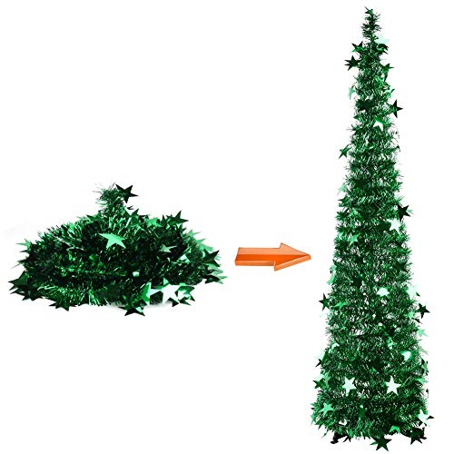 HOMEJIA 4Ft (1.2 Meters) Pop Up Tinsel Christmas Tree Collapsible Artificial Christmas Tree Easy Assembly with Stand for Xmas Home Decorations