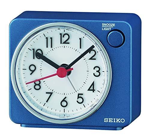 Seiko Clocks Wecker, Kunststoff, blau, 6.5 x 7.4 x 3.8