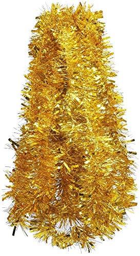 DERAYEE 10 Meter Gold Lametta Weihnachten Dekoration Girlande für Weihnachtsbaum Geburtstag Hochzeit Party Urlaub Supplies