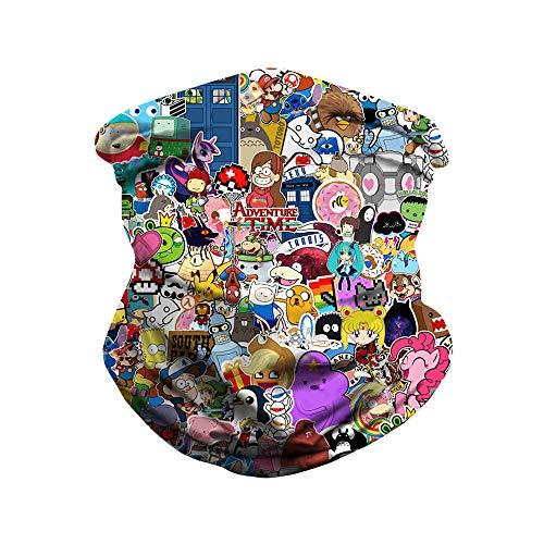 N-A 3D-Comic-Figuren Digitaldruck im Freien Schädlinge Mütze Maske Variety Magie Schale Schal im Freien Reitschal,BXHA015,Einheitsgröße