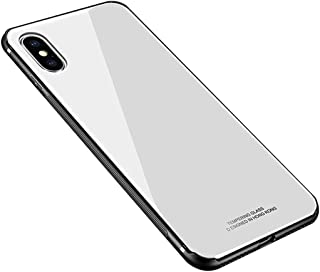 Luhuanx iPhone X Case, iPhone X Cover,Tempered iPhone X Glass Back Cover + TPU Frame Hybrid Shell Slim Case for iPhone X,iPhone 10 Case (2018) Anti-Scratch Anti-Drop (White)