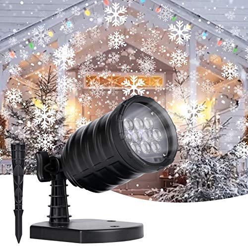 Christmas LED Projector Lights Outdoor - Rotating Snowfall Projection Lamp Waterproof for Halloween Christmas Holiday Party Wedding Garden Patio Decorative
