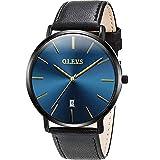 OLEVS 腕時計 メンズ 時計 うで時計 おしゃれ 超薄型 革ベルト クオーツ アナログ 日付表示 男性用 ラシック watch for men(ブラックストラップ+ブラックケース+ブルーダイヤル)