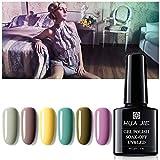 HUA JIE Kit de uñas de Gel Polaco, empapa el Clavo Off LED Polaco Ultravioleta del, para el Clavo del salón del Arte de la manicura de Arranque de año Nuevo Box,3#
