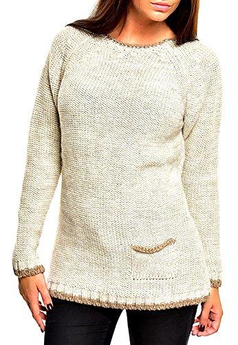 Tazzio Lady Damen Strickpullover Sweatshirt Pullover Strickjacke Stein Stone Grau XS