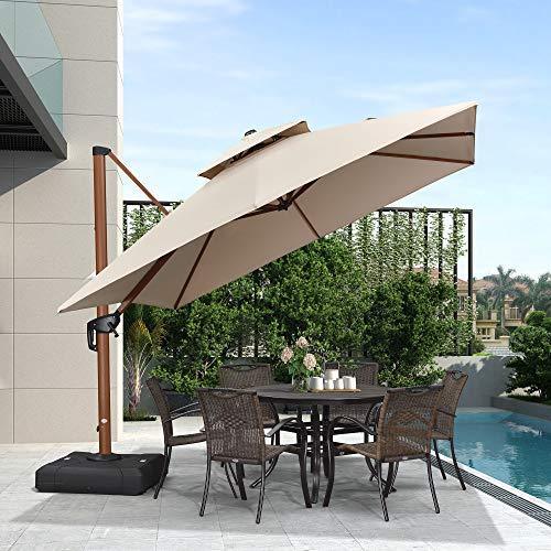 PURPLE LEAF 10ft Patio Umbrella Outdoor Square Umbrella Large Cantilever Umbrella Windproof Offset Umbrella Heavy Duty Sun Umbrella for Garden Deck Pool Patio, Beige