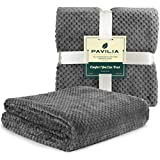 PAVILIA Waffle Textured Fleece Throw Blanket for Couch Sofa, Charcoal Gray   Soft Plush Velvet Flannel Blanket for Living Room   Fuzzy Lightweight Microfiber Throw for All Seasons, 50 x 60 Inches