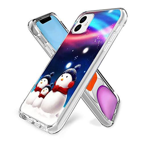 Schutzhülle für iPhone 11, Giraffenmuster, Kristalldruck, weich, superdünn, transparent, kratzfest (Schneemann)