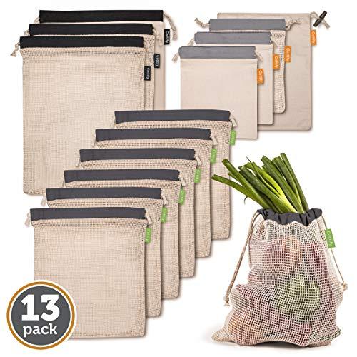 Cottify Wiederverwendbare Obst und Gemüsebeutel aus Bio Baumwolle 13er Set, Premium Nachhaltige Einkaufsnetze Gemüsenetze mit Gewichtsangabe Obstnetz Doppelgenähtes Waschbar und in 4 Größen, Grau