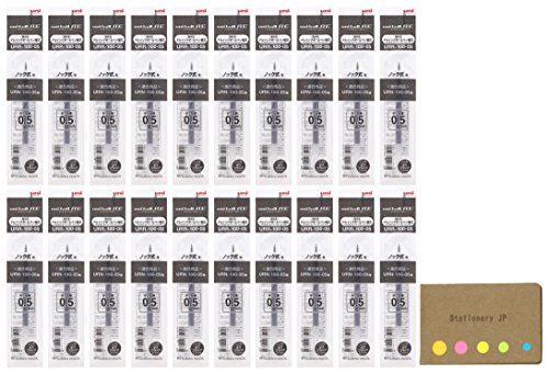 Uni-Ball URR-100-05 替芯 RE消せるゲルインクローラーボールペン 0.5mm オフブラックインク 20本パック 付箋バリューセット