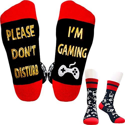 Tittok Do Not Disturb i'm Gaming, Please Don't Disturb Socks Gift for Gamer Men Women Teen Boys Kids Sons Boyfriends, Black, One Size