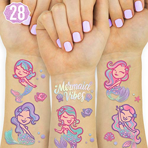 xo, Fetti Mermaid Party Supplies Temporary Tattoos for Kids - 28 Glitter Styles | Mermaid Birthday Party Favors, Mermaid Tail Decorations + Halloween Costume