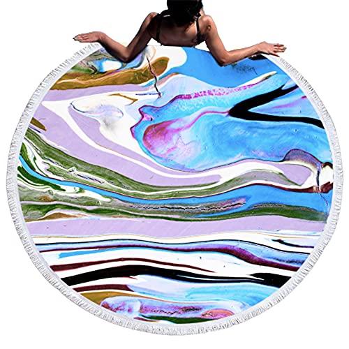 Mengdie Toalla de playa Estera de playa Royalty Rare Geode Round Towel Marble Impreso WaterAbsorber