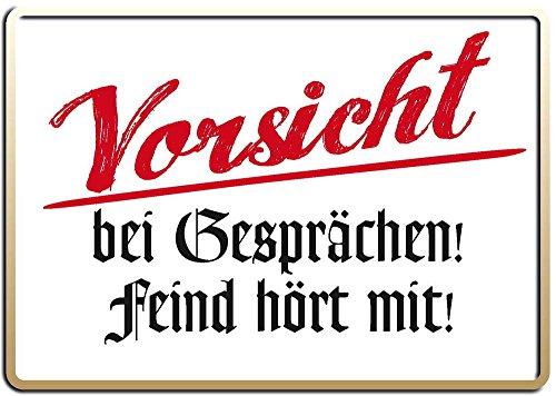 Vorsicht bei Gesprächen! Blechpostkarte, 15 x 11 cm