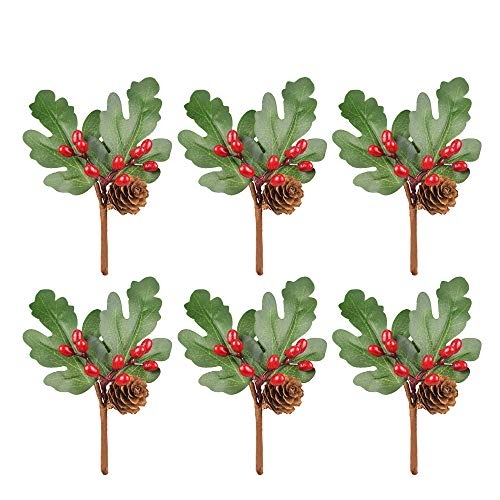 SANGDA Artificial Pine Picks, 6 Pcs Christmas Tree Picks Holly Berry Craft Artificial Pine Leaves Needle Holly Red Berry Pine Cone Picks for Christmas Garland Holiday Wreath Ornaments