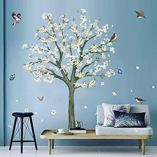 decalmile Adesivi Murali Fiori Albero Bianco Adesivi da Parete Uccelli e Rami Decorazione Murale Camera da Letto Soggiorno TV Parete