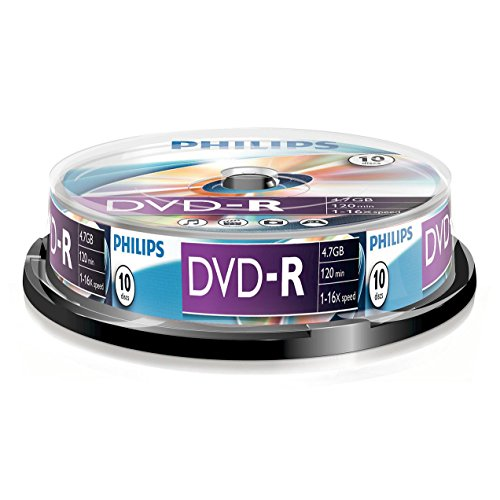 Philips DVD-R Rohlinge (4.7 GB Data/120 Minuten Video, 16x High-Speed-Aufnahme, 10er Spindel)
