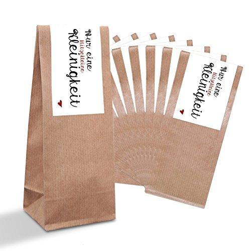 25 kleine braune Papiertüten Gebäcktüten mit Pergamin-Einlage + Aufkleber Sticker EINE KLITZEKLEINE KLEINIGKEIT (7 x 20,5 x 4 cm) in rot schwarz weiß Gastgeschenke Hochzeit Weihnachten give-away