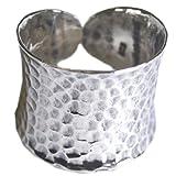 thai design - anello martellato in argento 925 sterling misura uk = n us = 7 regolabile