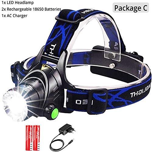 Lampe frontale LED phare de pêche T6 / L2 3 modes Lampe zoomable Lampe torche étanche Lampe frontale Lampe frontale par batterie 18650 T6-6000 Lumen Package C