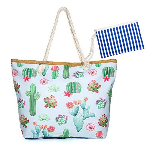 Maojuee Bolsa de Playa Grande Rayas Azules Bolsa de Playa de Lona Bolsos de Mano Shopper Bolsa de Playa Bolsas de Viaje con Cremallera para Mujeres y Niñas (Cactus)