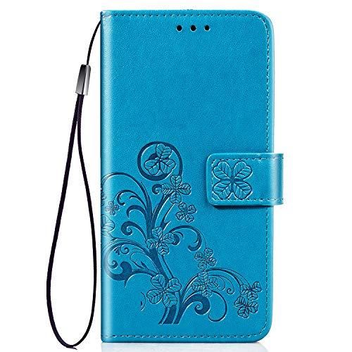 FINEONE Hülle für Motorola Moto E6 Plus Leder Flip Wallet Case, Schmetterling Blumen Handyhülle PU Leder Tasche Case, Kartensteckplätzen Schutzhülle Ständer Etui-Blau