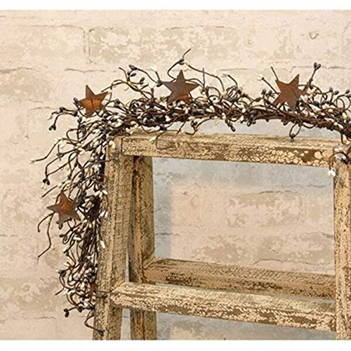 MIABE Floral Supplies for Black Gray Cream Pip Berry Garland Rusty Stars Primitive Country Farmhouse 40' for Winter Christmas Holiday New Year Decor