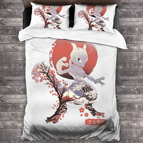 KUKHKU Ukiyo Mewtwo Monster Of The Pocket 3 Pieces Bedding Set Duvet Cover 86″x70″,Decorative 3 Piece Bedding Set with 2 Pillow Shams