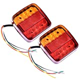Tropicaleu 2PCS Luces Traseras de Remolque de Freno de Señal 12V Indicador para Caravana Impermeable Coche Camión Rojo Ambar Lámpara de Matrícula Luces de Cola 20 LED