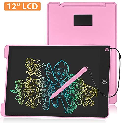 HOMESTEC HOMSTEC Schreibtafel 12 Zoll, Buntes Display, LCD Elektronische Maltafel für Kinder, Rosa
