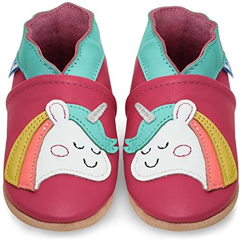 Juicy Bumbles Chaussure Bebe Fille - Chaussons Bébé Cuir Souple - Licorne - 18-24 Mois