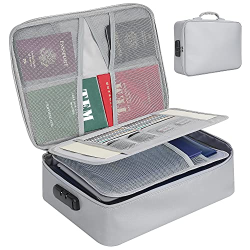 Fireproof Document Bag with Lock/Water-Resistant File, Document Organizer/Travel Safe Bag, Multi-Layer Portable Filing Storage for Important Files/Passport/Certificates, Box Holder for Documents