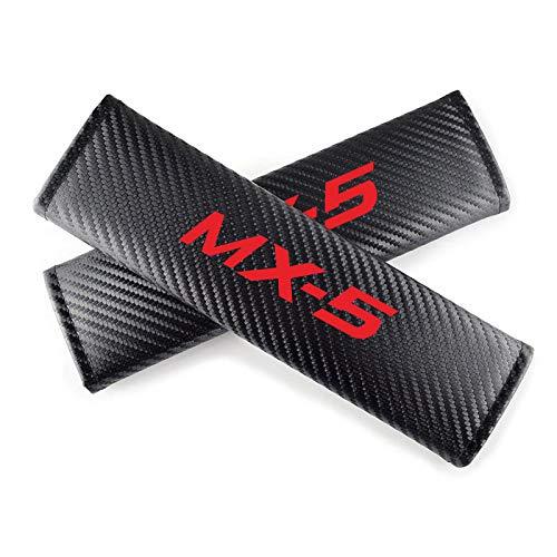 GLLXPZ 2個カーシートベルトカバーカーボンファイバーレザーシートベルトショルダーパッドインテリアアクセサリー、マツダMX-5用