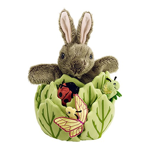 The Puppet Company - Hide Away Puppets - Rabbit in A Lettuce with 3 Mini...