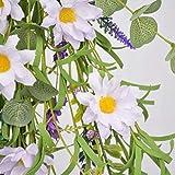 NOONE Flor artificial 60 cm Margarita Puerta Percha Floral Swag Margaritas Corona Personalidad 1PC Plástico Decoración Hogar Accesorios