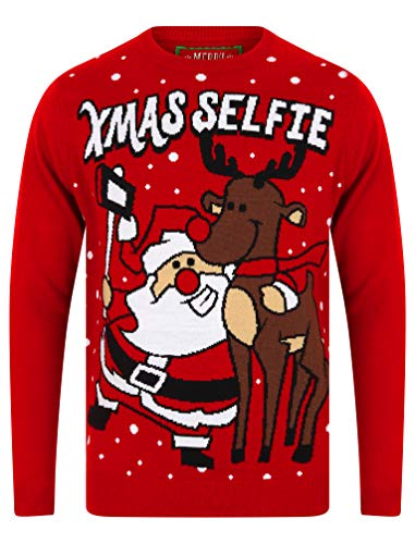 """Tokyo Laundry Herren Pullover """"Merry Christmas"""" Gr. Large, Weihnachts-Selfie, Rot"""